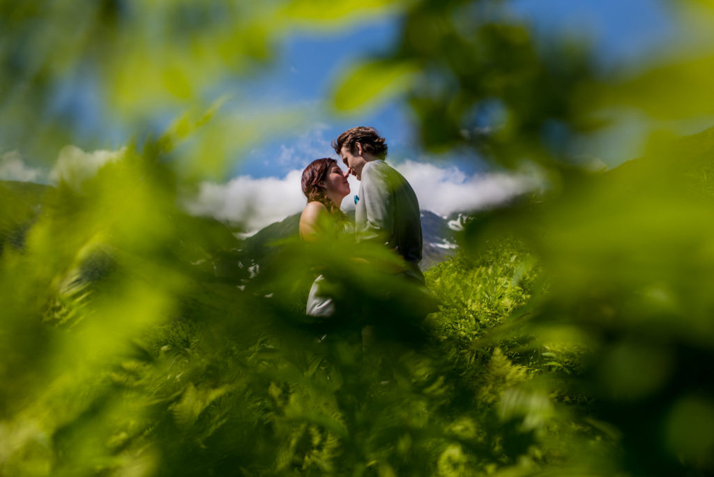 couple on hillside of alyeska