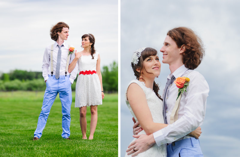 bride and groom in suspenders and light blue pants