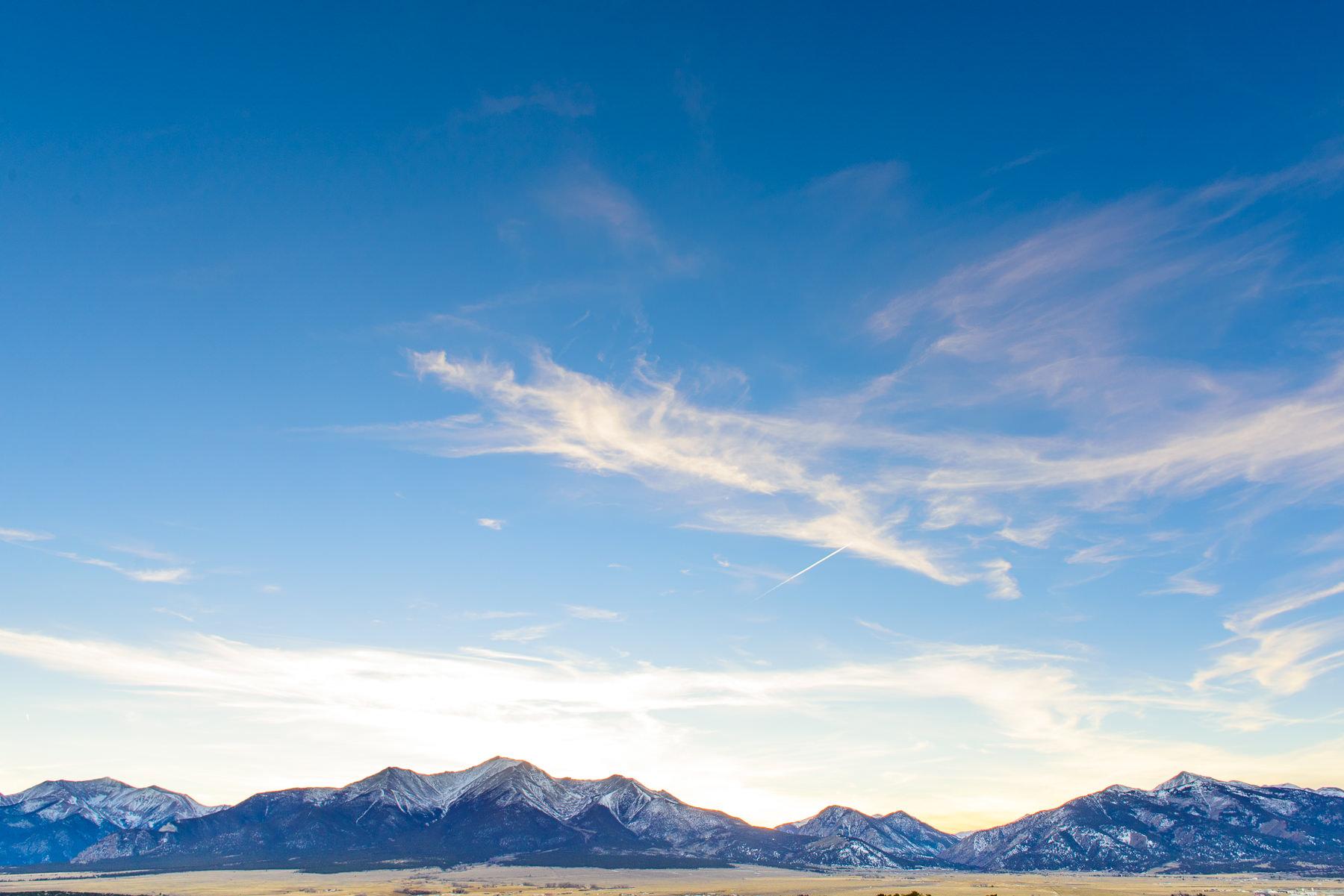 Colorado mountain range at sunset