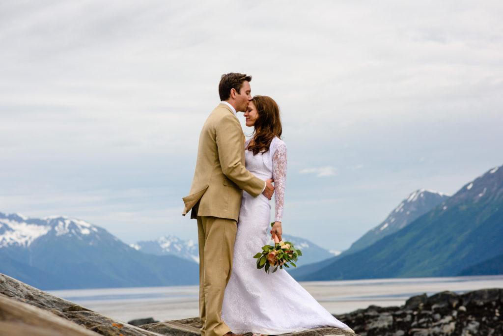 bride and groom at bird point in Girdwood alaska