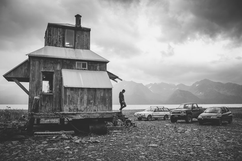 man leaving alaskan shack in Seward alaska