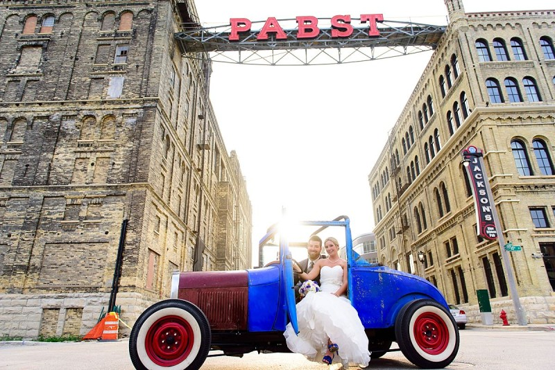 pabst best place blue and red car brewery wedding photographers