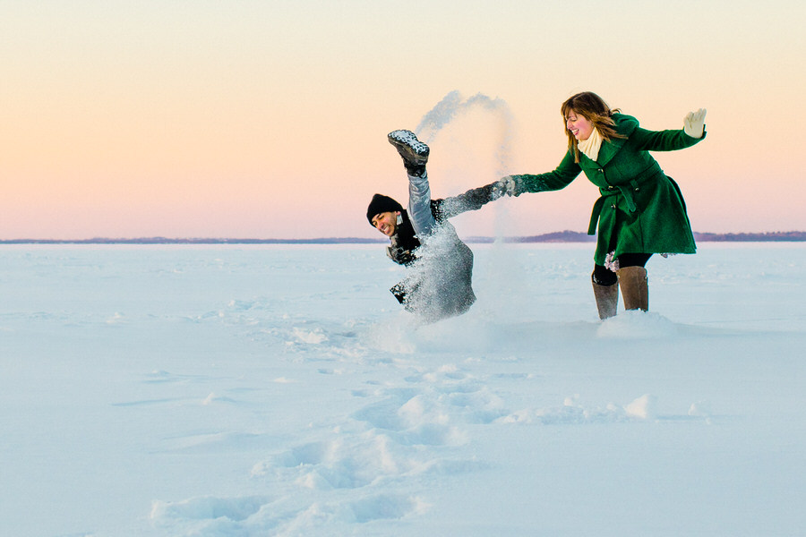 Wipe out on Lake Mendota Engagement Session